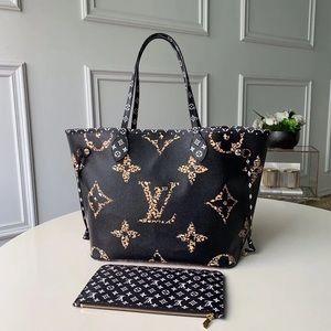 Louis Vuitton neverfull black caramel